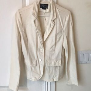 Casual Double Button Cotton Cream Blazer